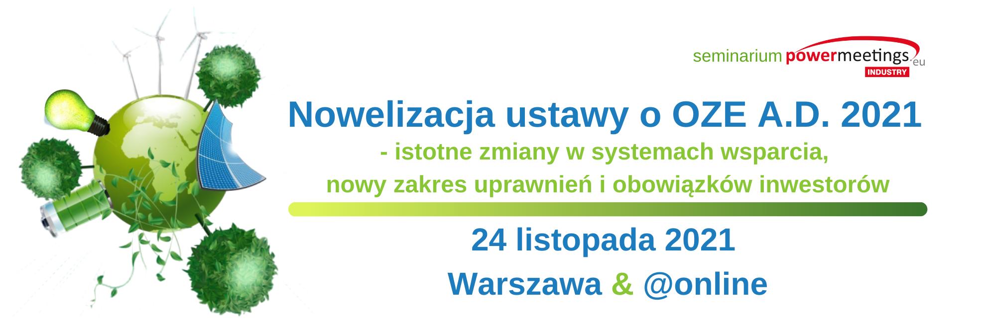 Nowelizacja ustawy o OZE A.D. 2021 wrzesień 2021
